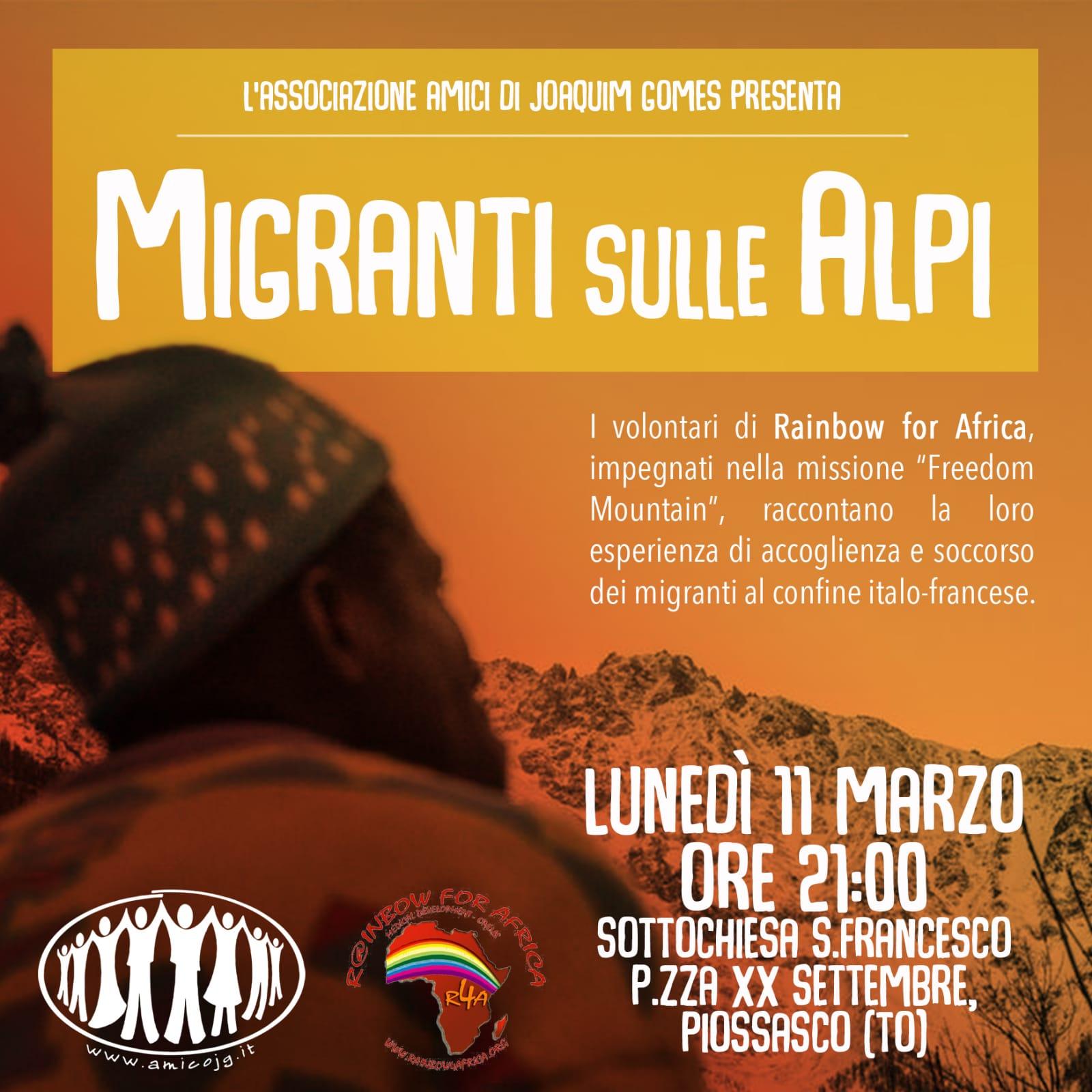 """Incontro """"Migranti sulle Alpi"""" lunedì 11 marzo 2019 ore 21 a Piossasco"""
